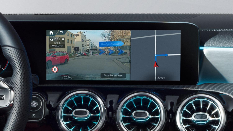 A-klasse-Kompaktlimousine-Interieur-Bildschirm-Touchscreen-Navigation