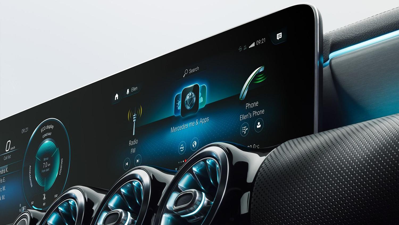 A-klasse-Kompaktlimousine-Interieur-Bildschirm-Touchscreen